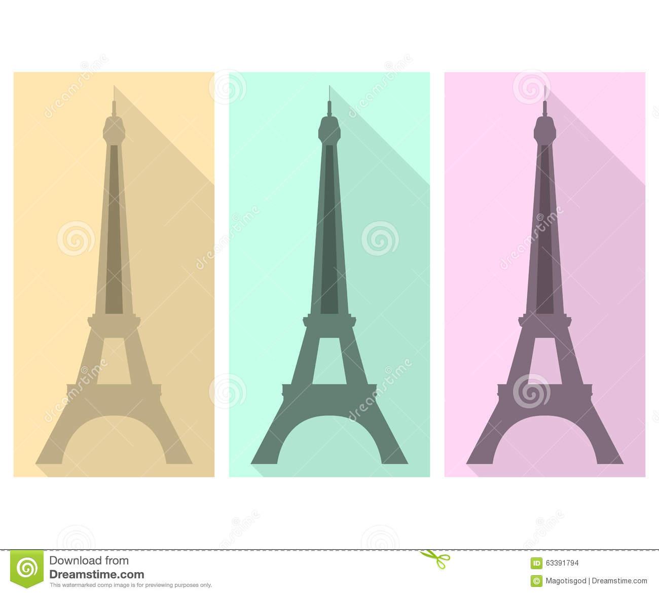 Eiffel Tower. Flat Icon Stock Vector.