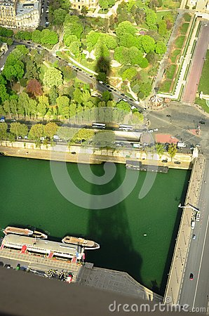 Shadow Of The Eiffel Tower Over Paris Stock Photo.