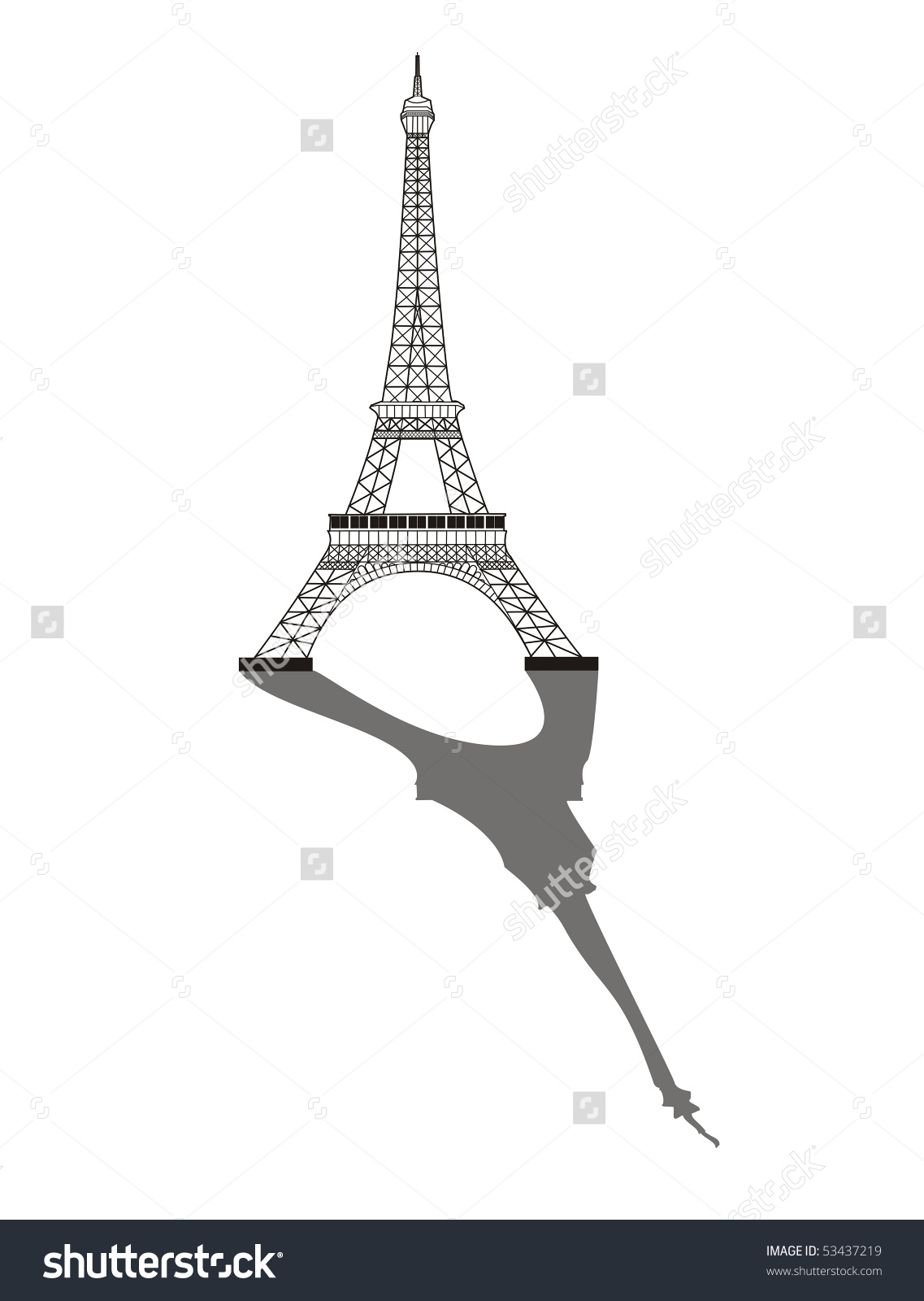 Eiffel Tower Shadow Stock Illustration 53437219.
