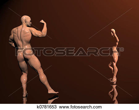 Drawing of Body building, shadow play k0781653.
