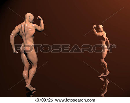 Stock Illustration of Body building, shadow play k0709725.
