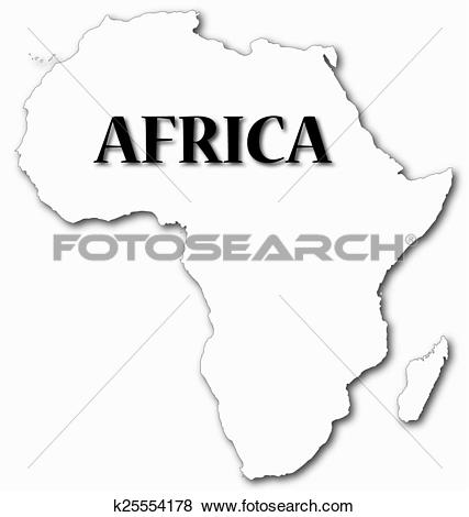 Clip Art of Africa Map With Shadow k25554178.