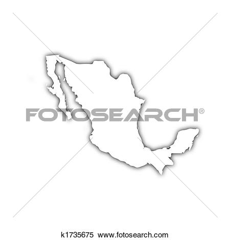 Stock Illustration of map of mexico with shadow k1735675.