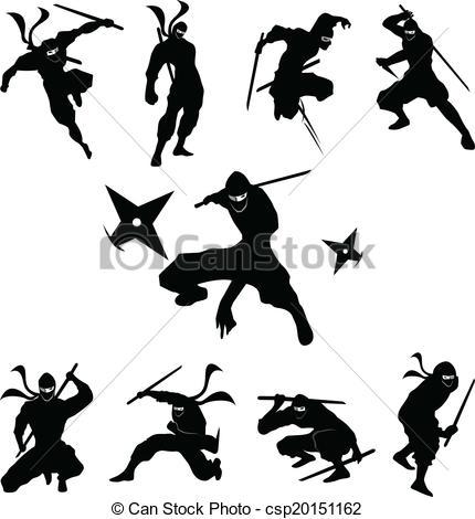 Clip Art Vector of Ninja Shadow silhouette Vector, silhouette.