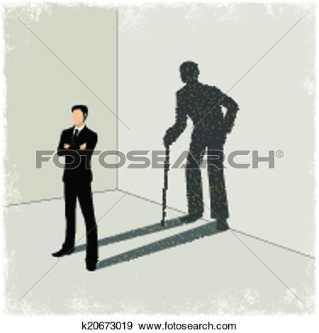 Clip Art of Child casting shadow of young man k20673016.