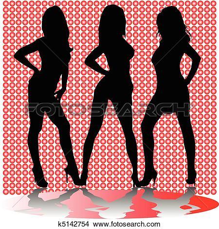 Clipart of sexy three girl shadow vector silho k5142754.
