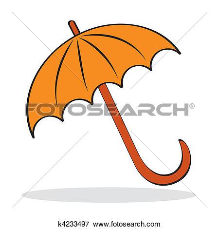 Clip Art of Orange umbrella with grey shadow k4233497.