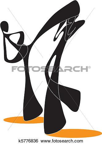 Clip Art of Shadow man taekwondo cartoon k5776836.