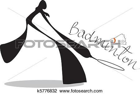 Clipart of shadow man badminton cartoon k5776832.