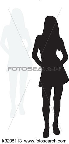 Clipart of sexy girl with shadow k3205113.