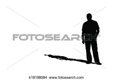 Drawings of silhouette of a man with a shadow k18198584.