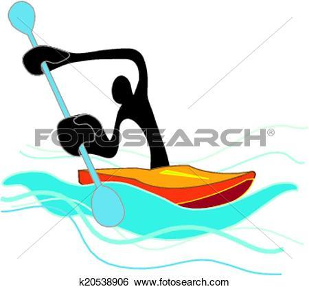 Clip Art of Flat Water Canoe shadow man k20538906.