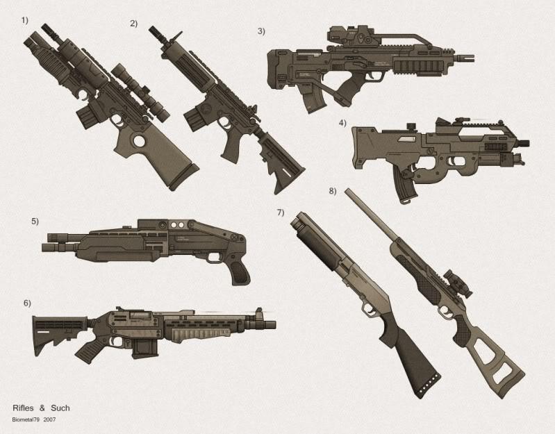 Bullpup assault rifles.