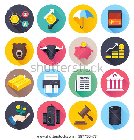 Flat Style Vector Illustrations With Long Shadows; Finance And.