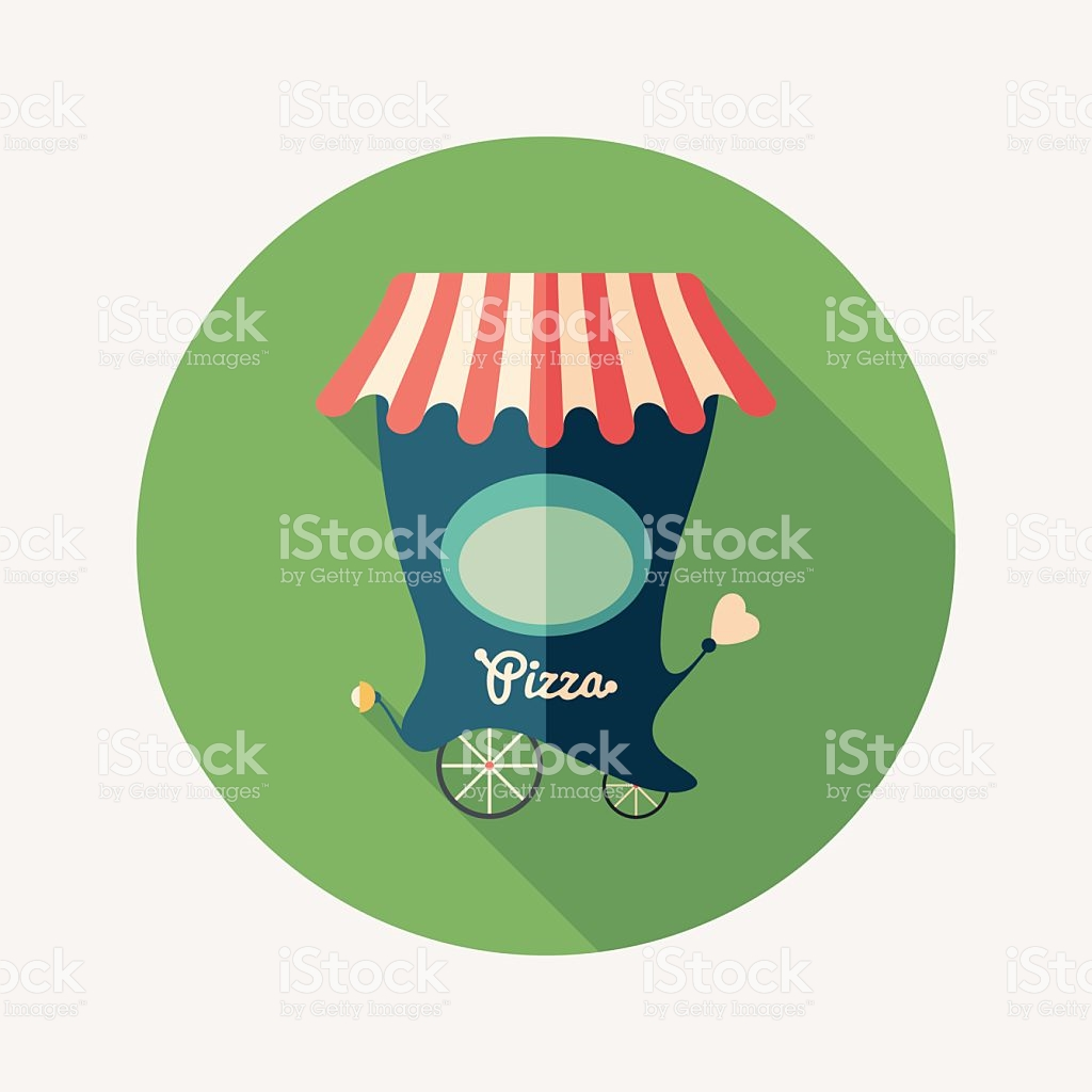 Retro Pizza Shop Flat Round Icon With Long Shadows stock vector.
