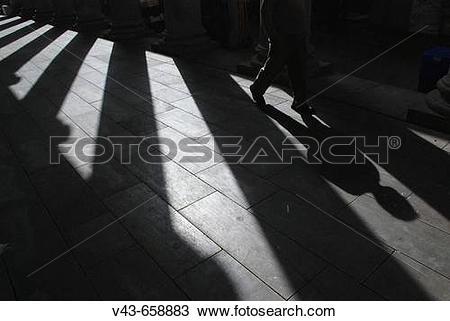 Stock Photo of Shadows of columns in a summer evening, La Boqueria.