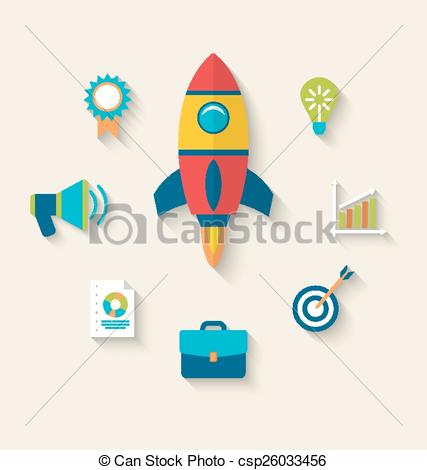 Clipart Vector of Concept of launch a new innovation product on a.