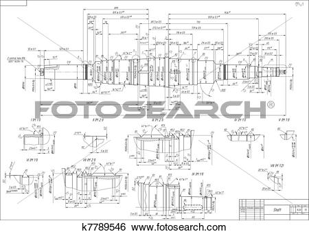 Clip Art of Engineering drawings of the shaft k7789546.