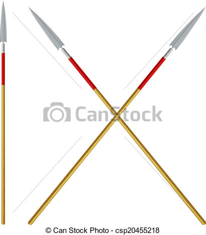 Vector Clip Art of Crossed spears with red ribbon on a shaft.