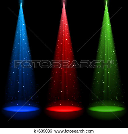 Clip Art of Three conical RGB shafts of light k7609036.