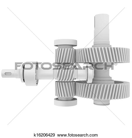 Stock Illustration of White shafts, gears and bearings k16206429.
