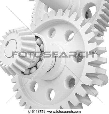 Stock Illustration of White shafts, gears and bearings k16113759.