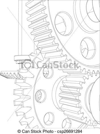 Vector of Reducer consisting of gears, bearings and shafts. Close.