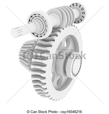 Clipart of White shafts, gears and bearings. 3d render isolated on.