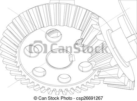 Clip Art Vector of Gears with bearings and shafts. Close.