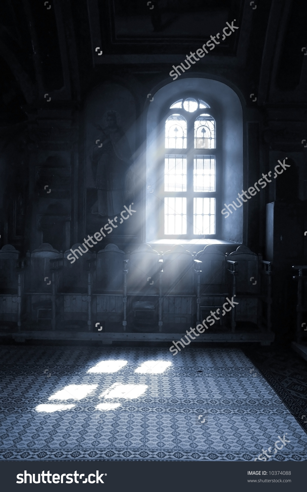 Shafts Light Stream Through Stained Glass Stock Photo 10374088.