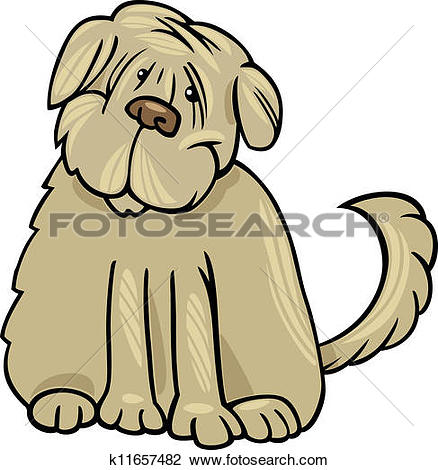 Clipart of shaggy terrier dog cartoon illustration k11657482.