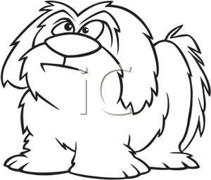 A Black and White Cartoon of a Shaggy Dog.