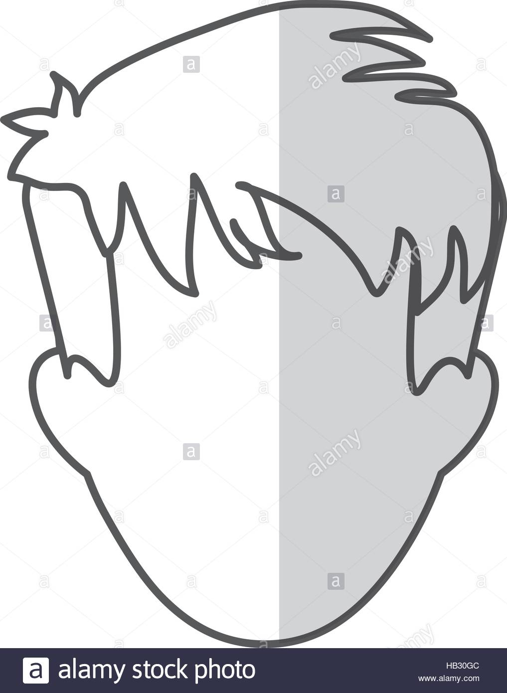 Man With Shaggy Hair Icon Image Vector Illustration Design Stock.