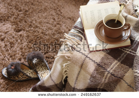 Woolen Plaid Coffee Cup Book Slippers Stock Photo 224639506.