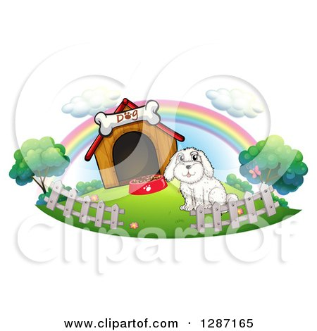 Clipart of a Friendly Waving Old English SheepDog Wearing a.