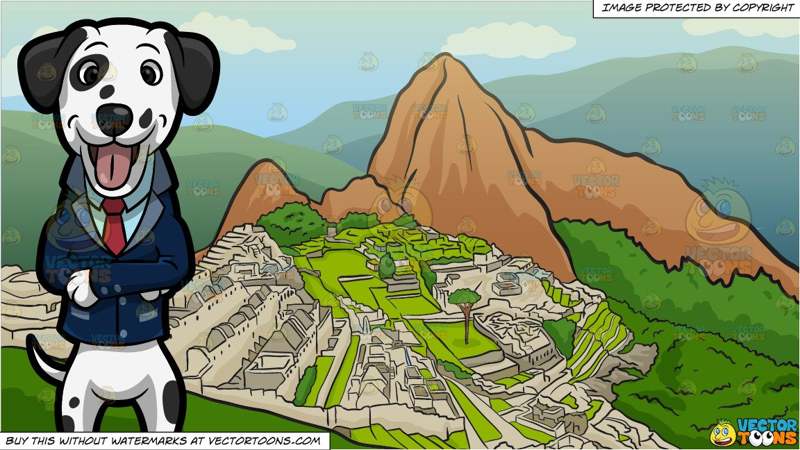 A Happy Dalmatian In A Business Suit and Machu Picchu Background.