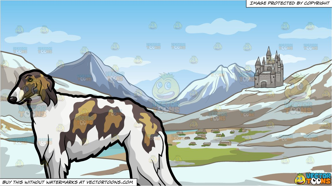 A Shaggy Borzoi Pet Dog and A Small European Mountainside Kingdom Background.
