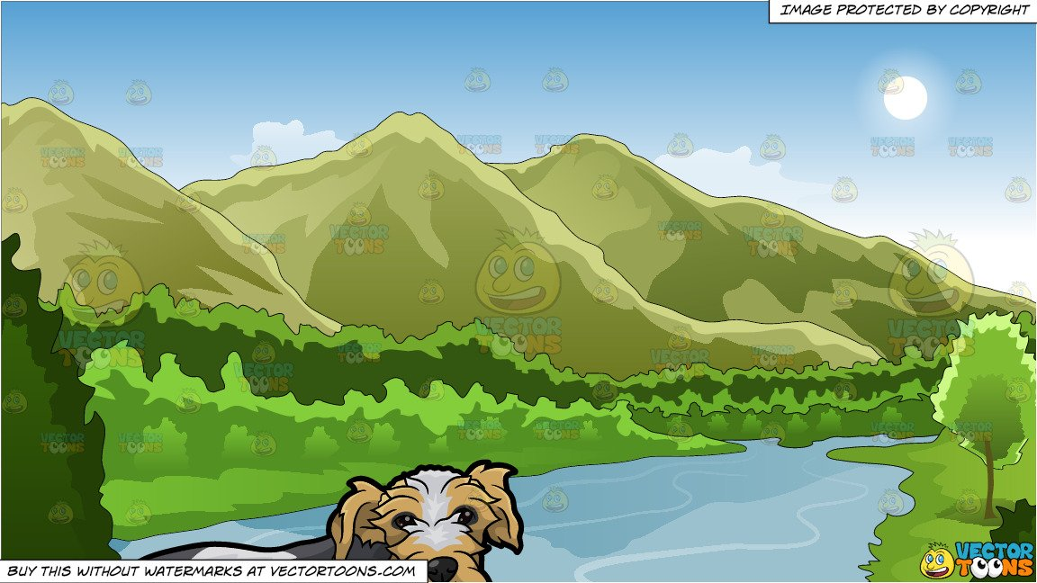A Cute Shaggy Dog and Mountains And River Background.