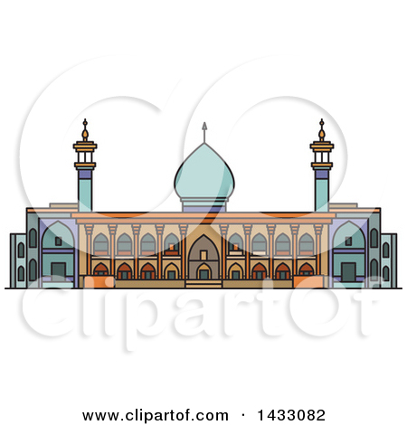 Clipart of a Line Drawing Styled Iran Landmark, Shah Cheragh.
