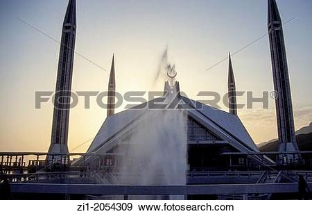 Stock Photograph of the large Shah Faisal mosque in Islamabad.