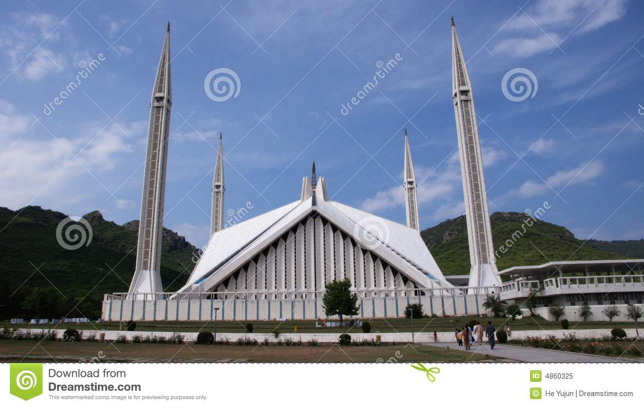 The Shah Faisal Mosque Royalty Free Stock Photo.
