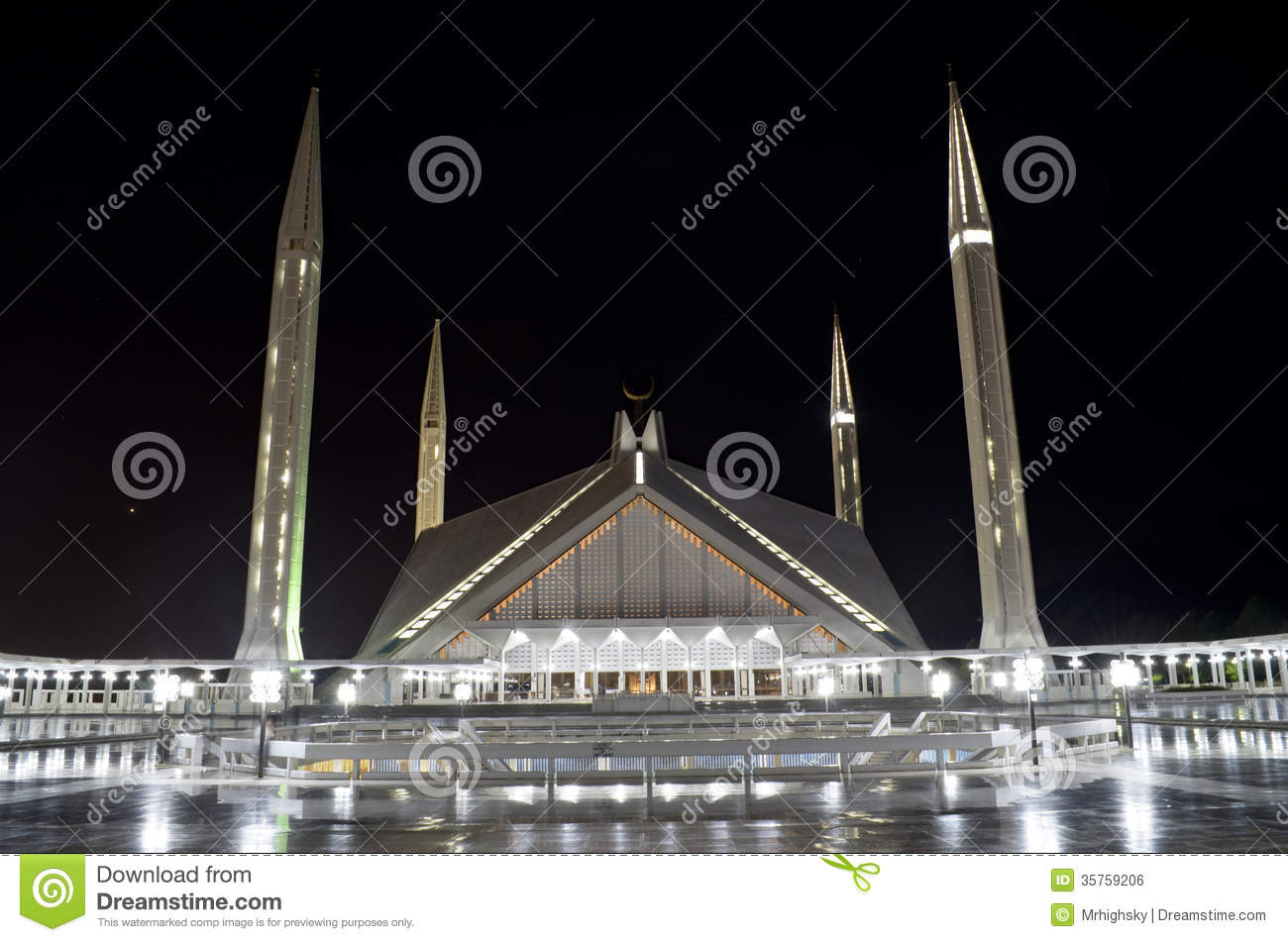 Shah Faisal Mosque Islamabad Editorial Photo.