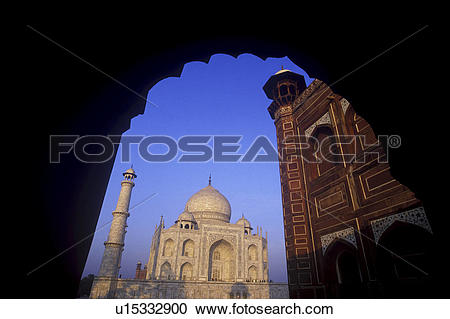 Stock Photography of India, Uttar Pradesh, Agra, Taj Mahal, built.