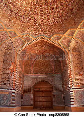 Pictures of Shah Jahan Mosque Thatta, Pakistan.