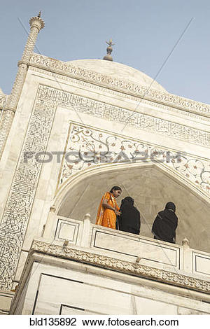 Stock Photo of Women on balcony of Shah Jahan mosque, Agra, India.