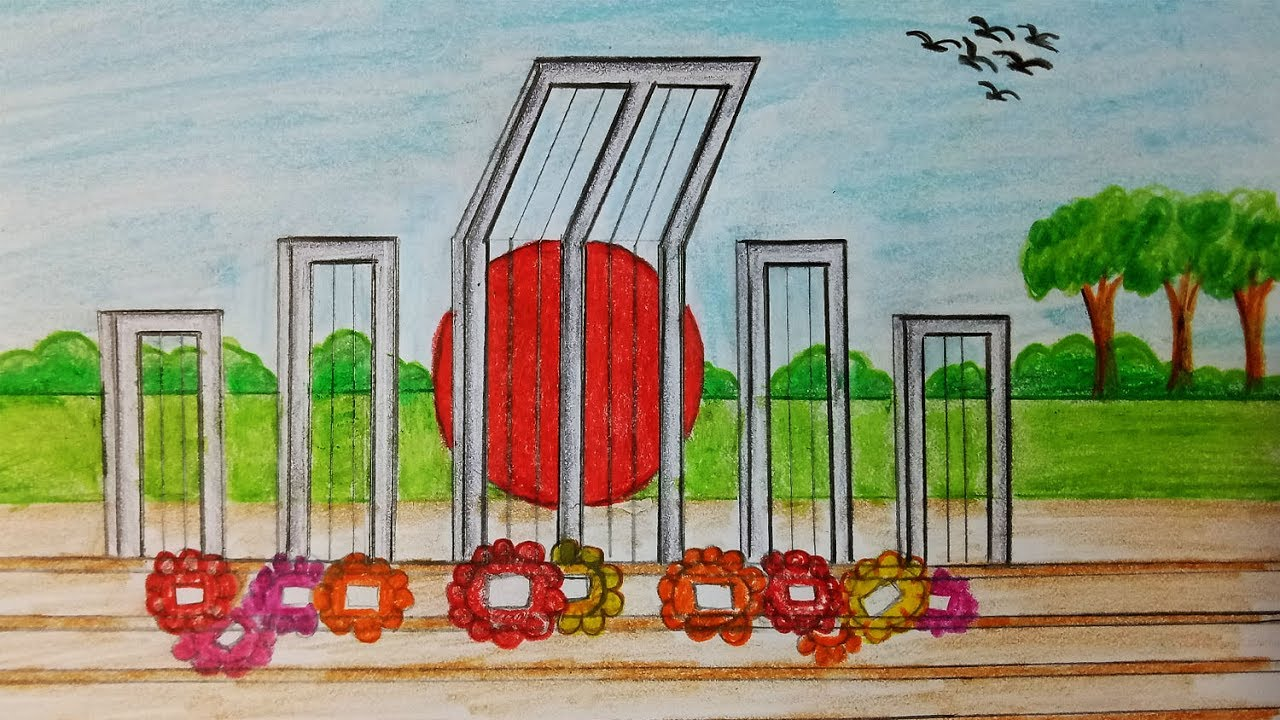 How to draw Shahid Minar.Step by step(easy draw).