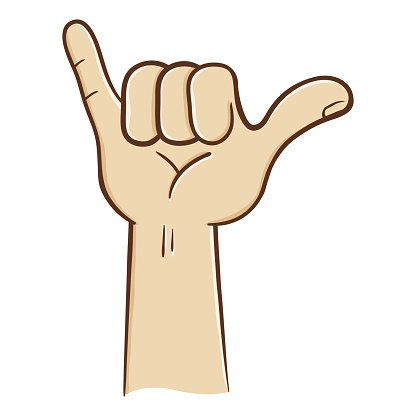 Hang Loose Hand Sign Clipart Image.