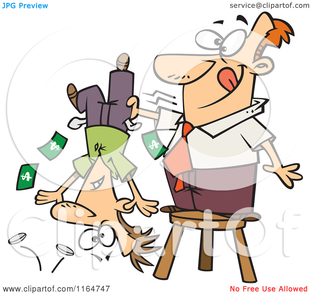Cartoon of a Man Standing on a Stool and Shaking Money from a Guys.