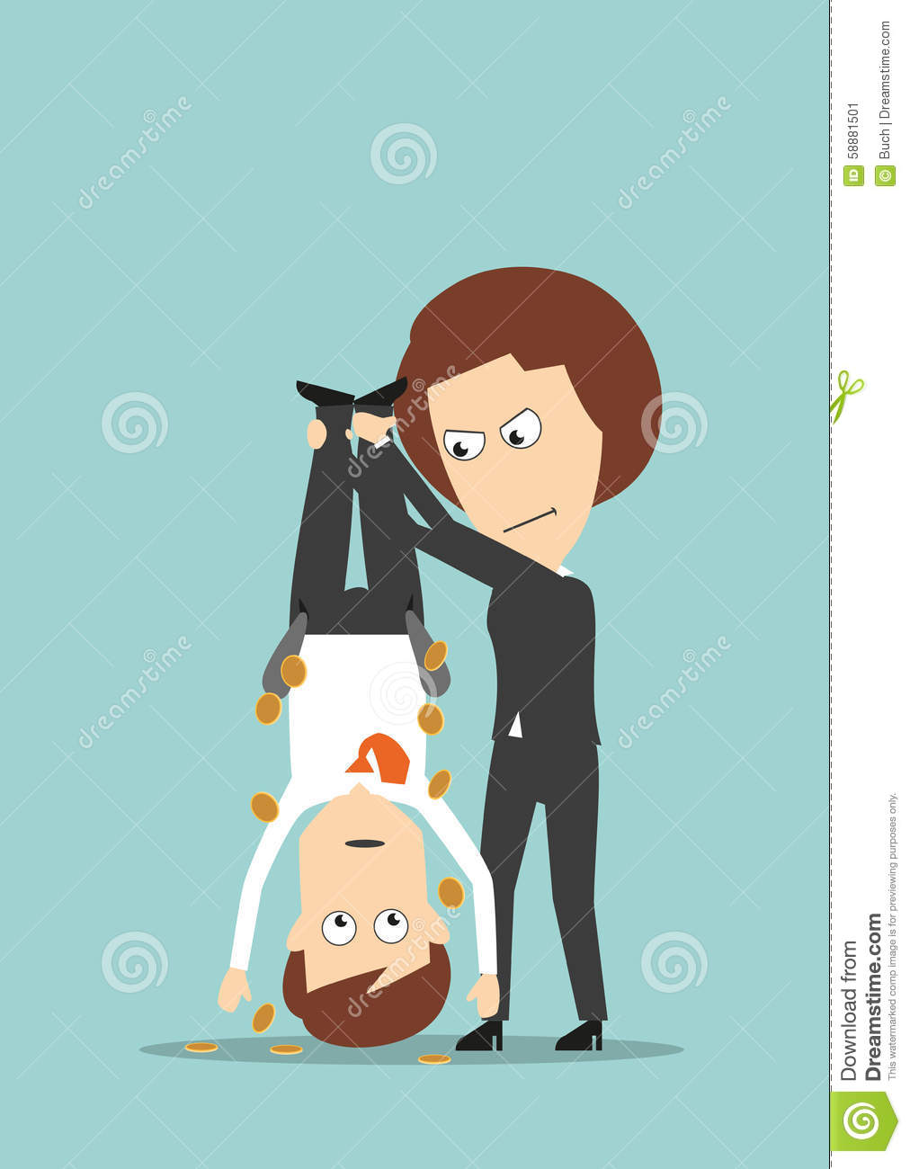 Business Woman Shaking Out Money From Colleague Stock Vector.
