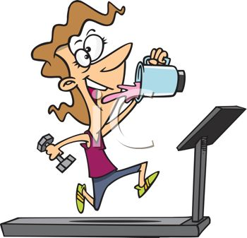 Cartoon of a Woman Working Out on a Treadmill Drinking a Protein.